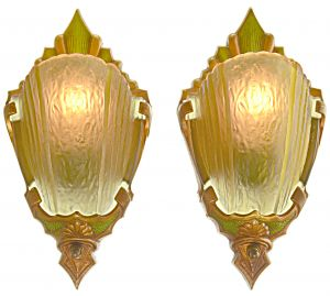 Pair of Slip Shade Art Deco Sconces by Markel (ANT-1216)