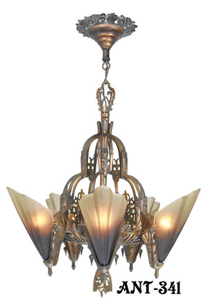 Antique Art Deco Slip Shade Soleure 5-Light Chandelier (ANT-341)