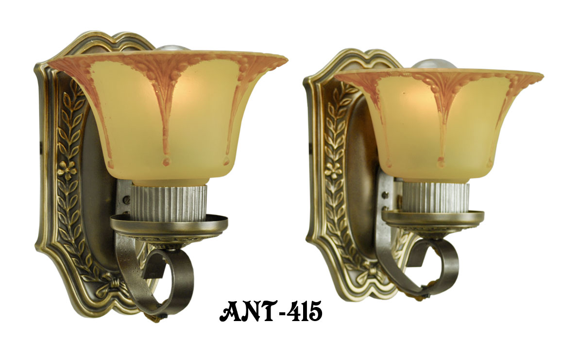 Wall Sconces Used : Vintage Hardware & Lighting - Art Deco Wall Sconces Circa 1920 Pair of Antique Brass Light ...