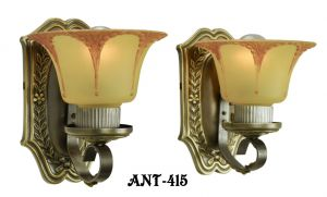 Art Deco Wall Sconces Circa 1920 Pair of Antique Brass Light Fixtures (ANT-415)