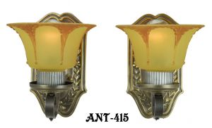 Art-Deco-Wall-Sconces-Circa-1920-Pair-of-Antique-Brass-Light-Fixtures-(ANT-415)