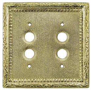 Victorian Decorative Double Push Button Switch Plate Cover (L-W12)