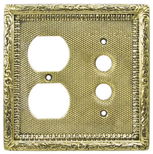 Victorian Decorative Plug & Push Button Combination Outlet and Switch Plate Cover (L-W15)