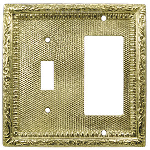Victorian Decorative Solid Brass GFI & Light Switch Combination Cover Plate (L-W16)