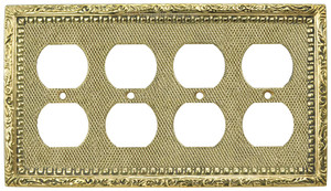 Victorian Decorative Quad Gang Plug Cover Plate (L-W53)
