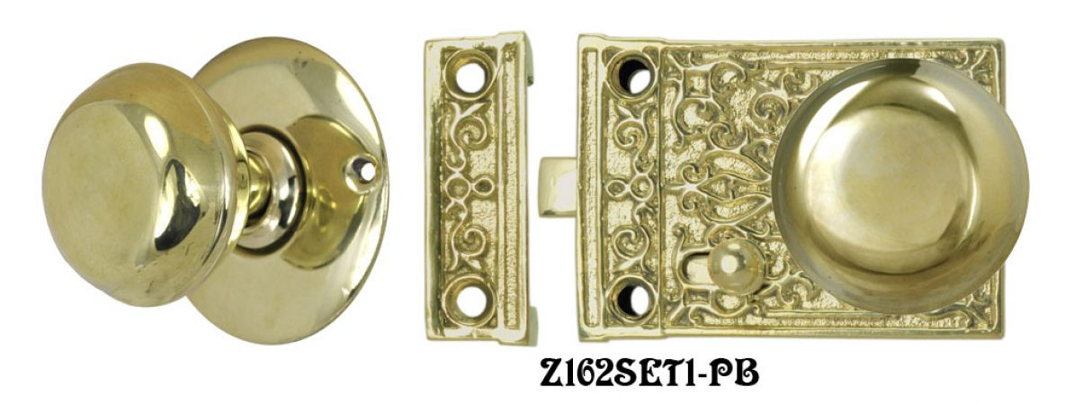 Solid Brass Victorian Surface Lock Passage Door Set (Z162SET1)