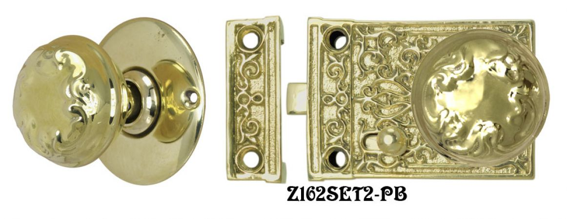 Solid Brass Victorian Surface Lock Passage Door Set (Z162SET2)