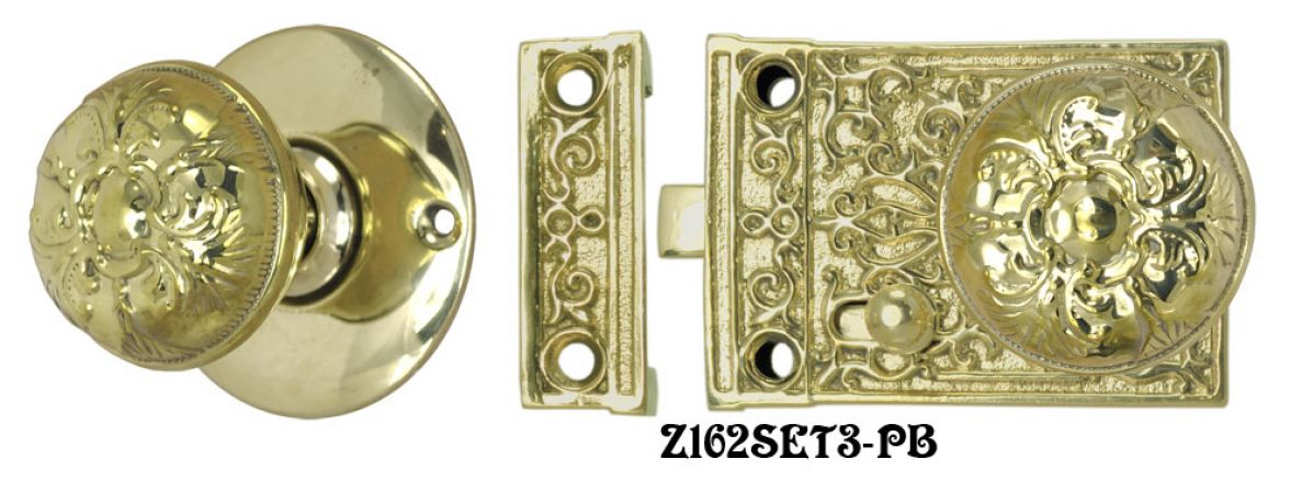 Solid Brass Victorian Surface Lock Passage Door Set (Z162SET3)