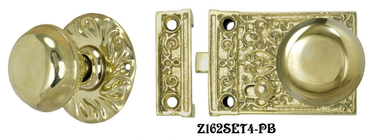 Solid Brass Victorian Surface Lock Passage Door Set (Z162SET4)