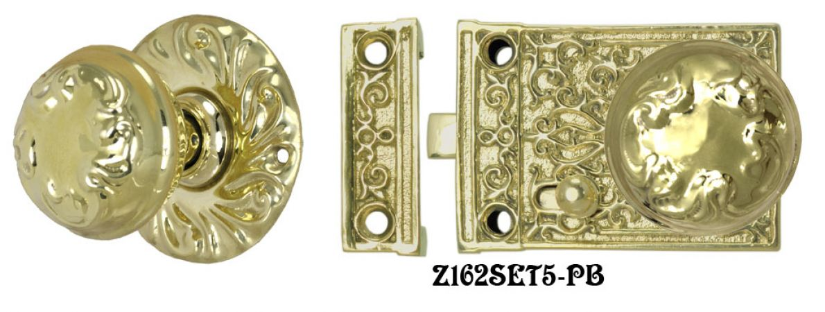 Solid Brass Victorian Surface Lock Passage Door Set (Z162SET5)