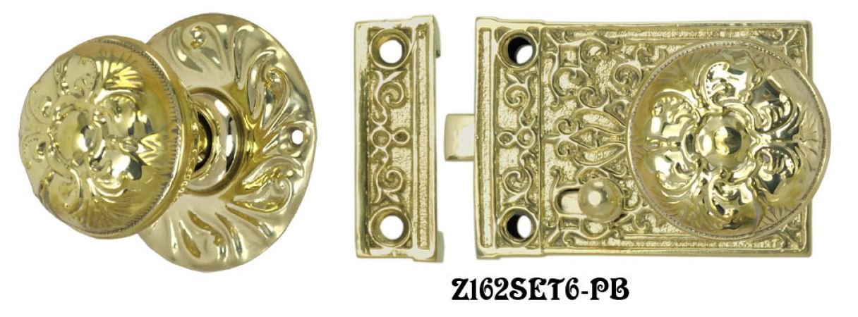 Solid Brass Victorian Surface Lock Passage Door Set (Z162SET6)