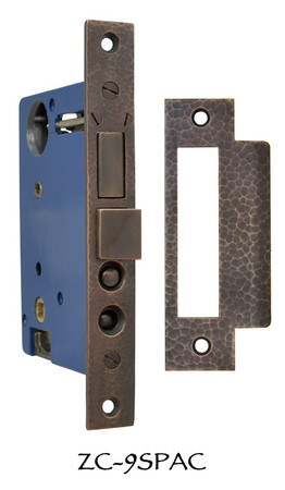 "Arts & Crafts Hammered Copper Mortise Lock 2 1/2"" Backset (ZC-9SPAC)"