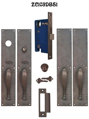 Arts & Crafts Entry Thumblatch Hammered Double Door Plate Set (ZC103DBS1)