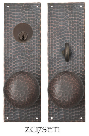 Arts & Crafts Entry Hammered Copper Door Plate Set (ZC17SET1)