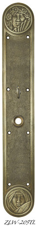"R&E Recreated Art Nouveau Lady Face Door Plate With Turnlatch 17 3/8"" Tall (ZLW-205TL)"