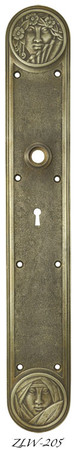 R&E Recreated Art Nouveau Lady Face Door Plate With Keyhole (ZLW-205)