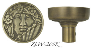 Art Nouveau Lady Face Doorknob (ZLW-206K)